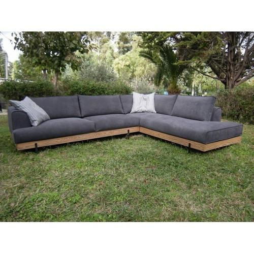 Γωνιακός Καναπές με ξυλινη βαση